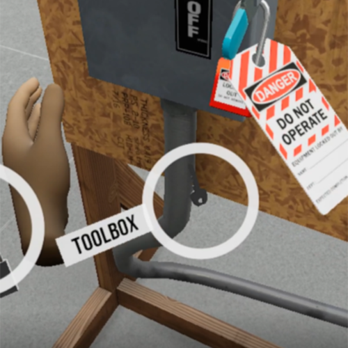 Lock Out Tag in virtual reality simulation